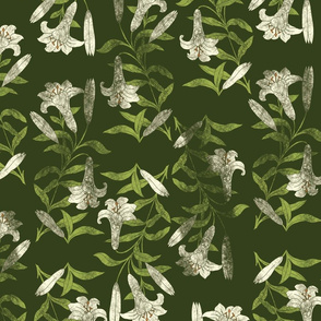 Lilies on Dark Green