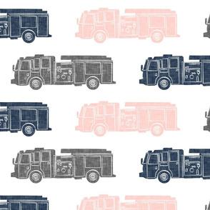 (jumbo scale) firetrucks - pink, navy, grey - firefighter wholecloth coordinate