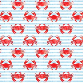 "(1"" scale) crabs - red on blue stripes - nautical summer fabric watercolor C20BS"