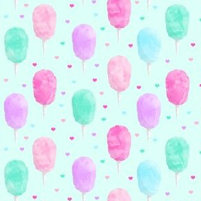 "(1.5"" scale) cotton candy on light green with hearts C20BS"