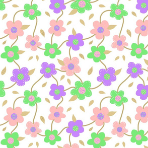 Floral Spring Delight! #2 Pastel colours on white, large