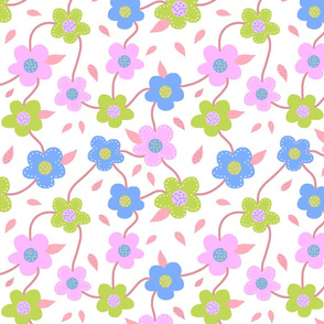 Floral Spring Delight! #3 Pastel colours on white, large