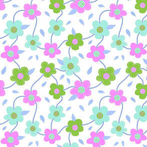 Floral Spring Delight! #4 Pastel colours on white, large