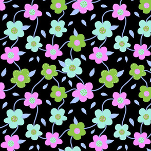 Floral Spring Delight! #4 Pastel colours on black, large