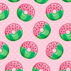 "(1.5"" scale) Watermelon donuts - pink polka dot - summer - fruit doughnuts - LAD20BS"