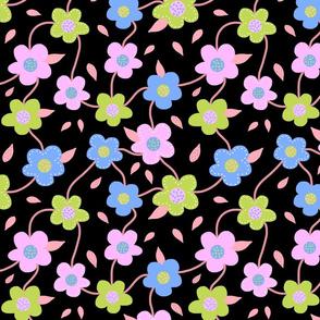 Floral Spring Delight! #3 Pastel colours on black, large
