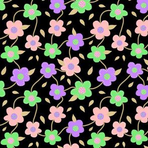 Floral Spring Delight! #2 Pastel colours on black, large