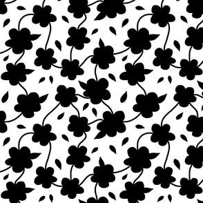 Floral Spring Delight! Black on white, large