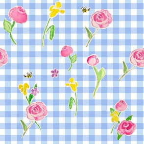 Watercolor roses on Blue Gingham