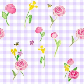 Watercolor Roses in Lilac Gingham