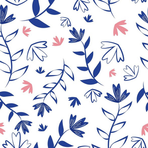 Indigo and pink illustrated floral pattern on white