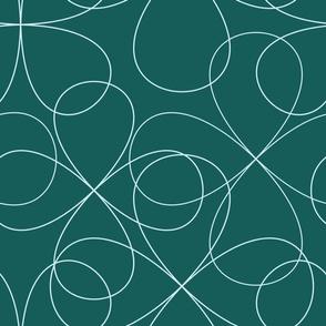White swirl floral pattern on dark green background