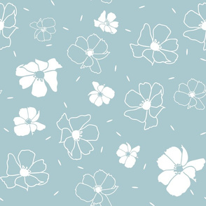 White small floral doodle pattern on light blue background