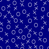 football x and o scatter white on blue