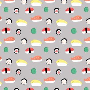 kawaii sushi gray background