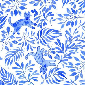 Cats and leaves in trendy blue