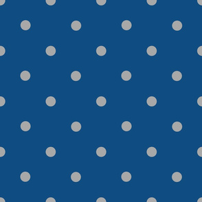 Classic Polka Dots - Silver Grey on Classic Blue