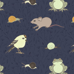 Garden Residents on Navy Blue seamless pattern background.