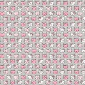 Pink Cat Cats  Faces with Bows and Hearts on Grey Tiny Small 0,5 inch