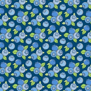 Blueberries Fruit on Dark Blue Navy Smaller 1,5 inch