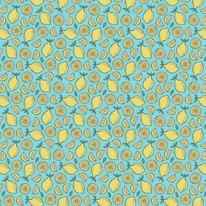 Lemon Citrus on Blue Tiny Small 0,75 inch