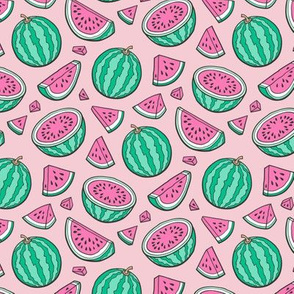 Pink Watermelons Watermelon Fruits on Light Pink Smaller 1,5 inch