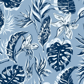 Classic Blue Tropical Pattern