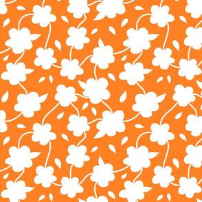 Floral Spring Delight! White on Tangerine orange, large