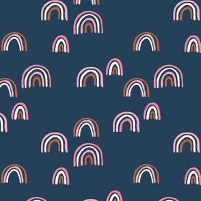 Rainbow sky and minimal dreamy retro night wish autumn winter navy blue pink