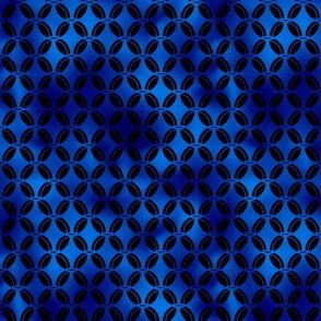 4 Leaf Quatrefoils in Black and Classic Blue Vintage Faux Foil Art Deco Vintage Foil Pattern