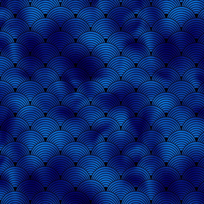 Ringed Scales in Black and Classic Blue Vintage Faux Foil Art Deco Vintage Foil Pattern