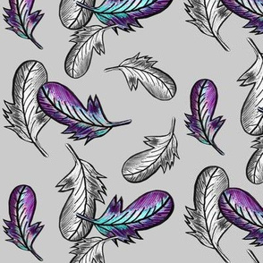 Bohemian Pillow Fight / Light grey w/ Silver and Multi Feathers Med.