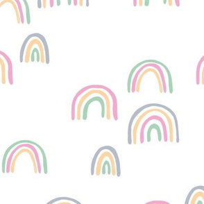 Rainbow sky and minimal dreamy retro night wish easter nursery girls white pink