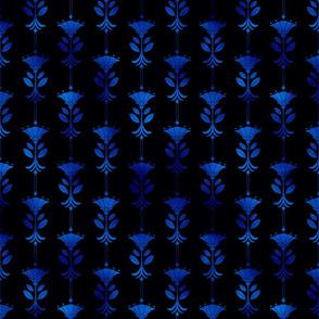 Damask Motifs in Black and Classic Blue Vintage Faux Foil Art Deco Vintage Foil Pattern