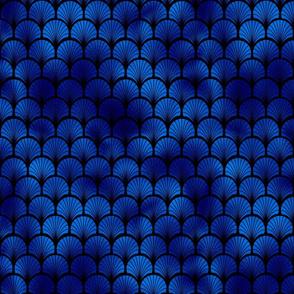 Fan Palms in Black and Classic Blue Vintage Faux Foil Art Deco Vintage Foil Pattern