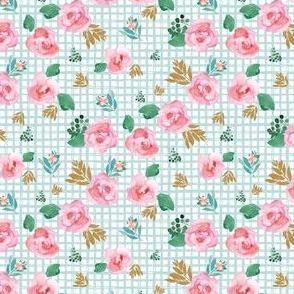 "4"" Pink Flowers Aqua Squares"