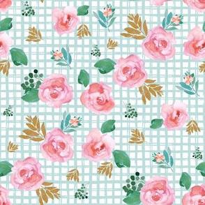 "8"" Pink Flowers Aqua Squares"