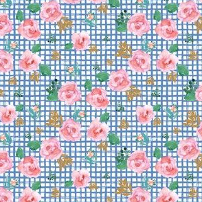 "4"" Pink Flowers Blue Squares"