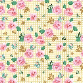 "4"" Pink Flowers Yellow Squares"