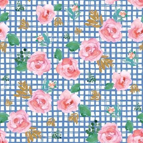 "8"" Pink Flowers Blue Squares"