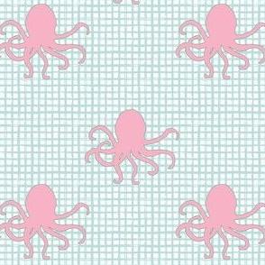 """4"""" Pink Octopus Aqua Squares"""