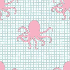 """8"""" Pink Octopus Aqua Squares"""