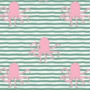 "4"" Pink Octopus Green Stripes"