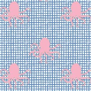 """4"""" Pink Octopus Blue Squares"""