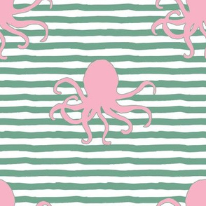 "8"" Pink Octopus Green Stripes"