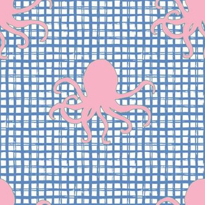 "8"" Pink Octopus Blue Squares"