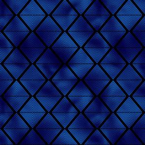 Lined Diamonds in Black and Classic Blue Vintage Faux Foil Art Deco Vintage Foil Pattern