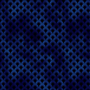 Leafed Palms in Black and Classic Blue Vintage Faux Foil Art Deco Vintage Foil Pattern