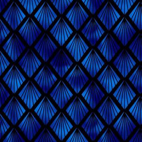 Palm Fans in Black and Classic Blue Vintage Faux Foil Art Deco Vintage Foil Pattern