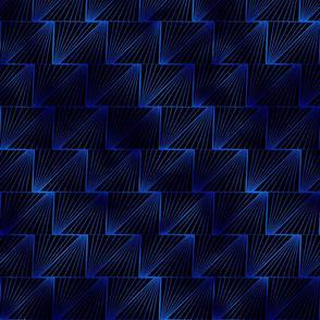 Diagonal Triangles in Black and Classic Blue Vintage Faux Foil Art Deco Vintage Foil Pattern